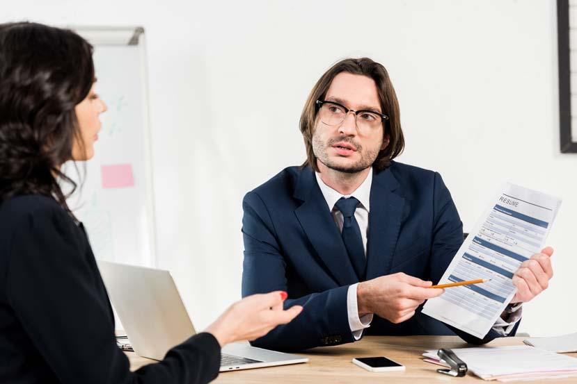 viewing a cv at job interview